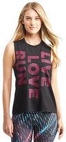 Aeropostale Womens Lld Vertical Love Run Sleeveless Muscle Tee Shirt Black