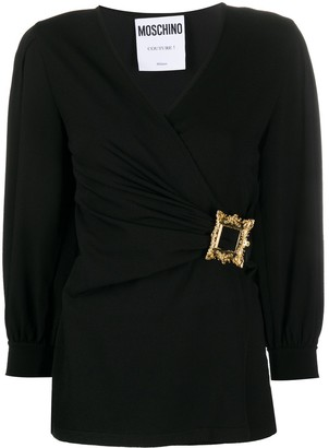 Moschino Frame-Buckle Long-Sleeve Blouse