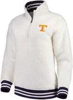 Unbranded Women's Cream Tennessee Volunteers Varsity Banded Sherpa Quarter-Zip Pullover Jacket