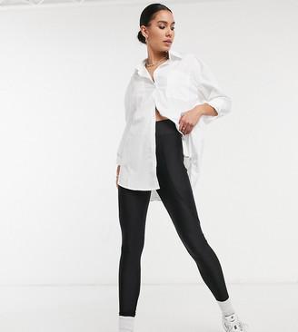 Topshop Tall hi-shine leggings in black