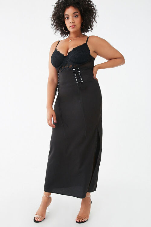 Forever 21 Plus Size Lace-Up Maxi Skirt