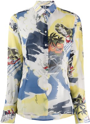 Ermanno Scervino Tropical Print Long Sleeve Shirt