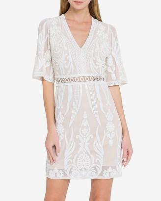 Express Endless Rose Embroidered Sequin V-Neck Dress