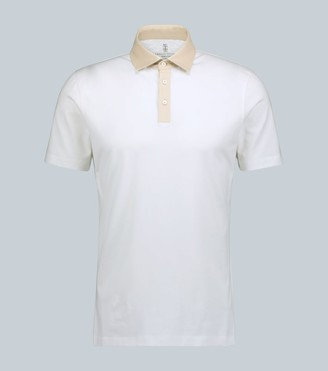 Brunello Cucinelli Contrast-collar jersey polo shirt