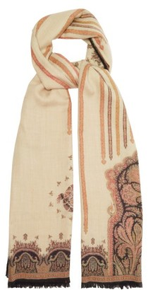 Etro Paisley-print Cashmere-blend Herringbone Shawl - Multi