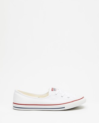 Converse Women's White Slip-On Sneakers - Chuck Taylor All Star Ballet Lace - Size 5 at The Iconic