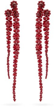 Simone Rocha Double Drip Crystal-embellished Earrings - Red