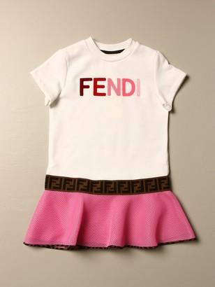 Fendi T-shirt Dress With Mesh Flounce