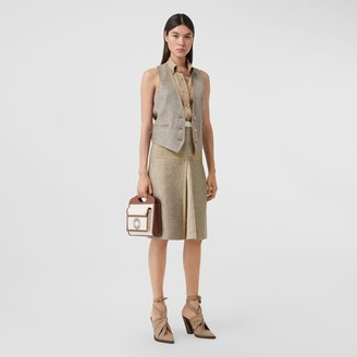 Burberry Contrast Seam and Box-pleat Detail Linen A-line Skirt