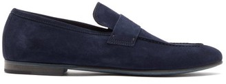 Dunhill Engine Suede Penny Loafers - Mens - Navy