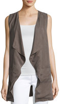 Bobeau Patch-Pocket Woven Vest, Brown