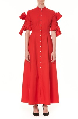 Carolina Herrera Bow Sleeve Cotton Poplin Maxi Shirtdress