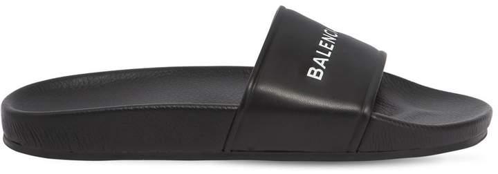 Balenciaga Logo Printed Rubber Slide Sandals