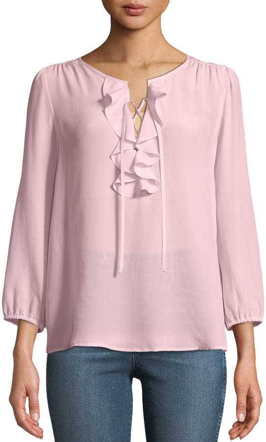 Joie Hynes 3/4-Sleeve Ruffle Front Georgette Blouse