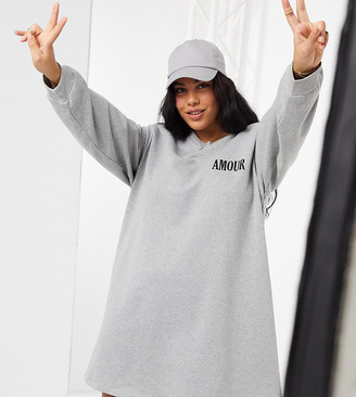 ASOS DESIGN Curve padded shoulder mini sweatshirt dress in gray with amour logo