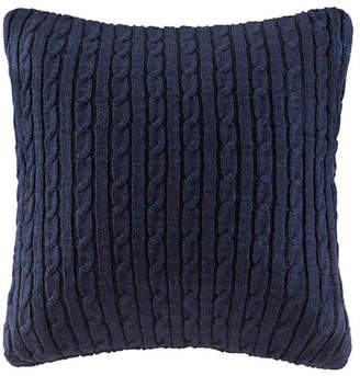 "Woolrich Ryland 18"" x 18"" Cable Knit Square Pillow Navy Bedding"