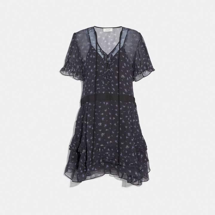 Coach Scattered Rose Print Short Dress