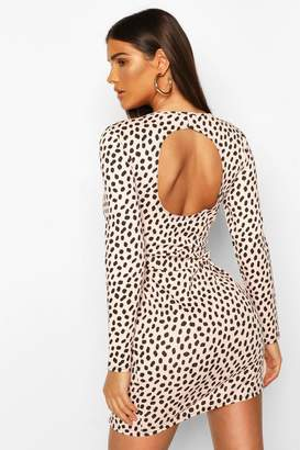 boohoo Dalmatian Print Keyhole Back Dress