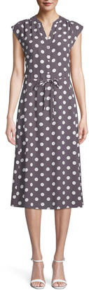 Anne Klein Polka Dot Drawstring Midi Dress