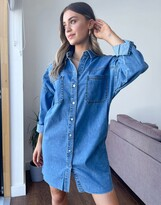 Thumbnail for your product : New Look oversized denim shirt in mid blue