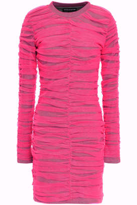 House of Holland Layered Ruched Neon Tulle And Jersey Mini Dress