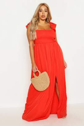 boohoo Plus Woven Sheered Flutter Sleeve Maxi Dress