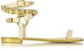 Giuseppe Zanotti Pia Sand Leather Ankle Wrap Flat Sandal w/Studs