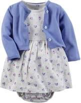 Carter's Baby Girls' 2 Piece Floral Dress Set Cadet/Grey Flowers-NB