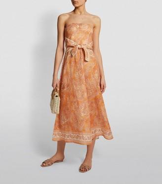 Zimmermann Linen Paisley Brighton Strapless Midi Dress