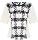 3.1 Phillip Lim Checked Basketweave-Paneled Cady Top
