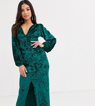 ASOS DESIGN Petite long sleeve button through velvet maxi dress