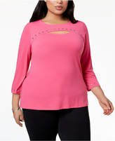 JM Collection Plus Size Studded Cutout Top, Created for Macy's