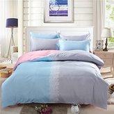 SAYM Home Bedding Sets Elegant Rural Style Jet Print Full Size Set For Lovely Teen Girls 100% Cotton Duvet Cover,Flat Sheet,Shams Set 4Pieces
