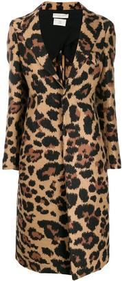 Bottega Veneta leopard single breasted coat