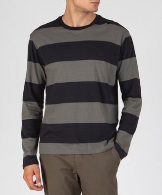 Atm Rugby Stripe Classic Jersey Long Sleeve Crew Neck Tee - Olive Drab Combo