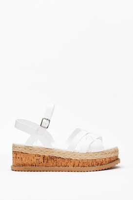 Nasty Gal Womens Multi Strap Cork Flatform Sandals - White