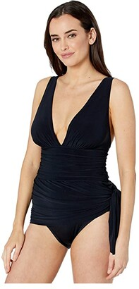 Magicsuit Solid Celine Swimdress One-Piece (Black) Women's Swimsuits One Piece