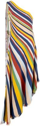 Oscar de la Renta Striped Asymmetric Dress