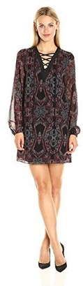 BCBGeneration Women's Printed Lace Up Dress