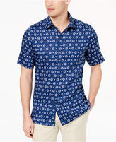 Tasso Elba Island Men's Medallion-Print Linen Shirt, Created for Macy's