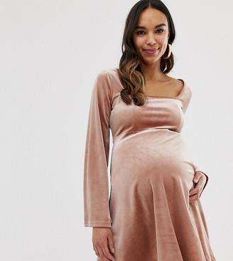 Asos DESIGN Maternity mini velvet skater dress with bust seaming
