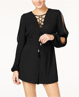 Material Girl Juniors' Cold-Shoulder Lace-Up Romper, Only at Macy's