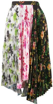 MSGM Asymmetric Floral Print Pleated Skirt