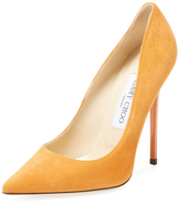 Jimmy Choo Anouk Suede Pointed-Toe Pump