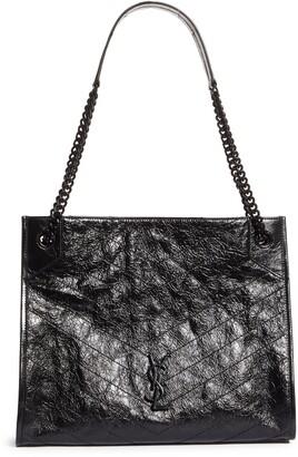 Saint Laurent Medium Niki Matelasse Crinkled Leather Shopper