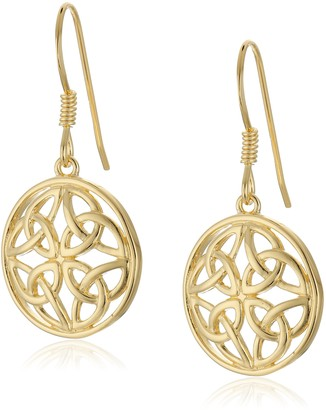 Celtic 18k Yellow Gold Plated Sterling Silver Knot Round Drop Earrings