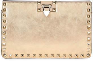 Valentino Garavani Rockstud Metallic Crackle Leather Clutch Bag