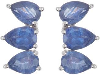 Forever Creations Usa Inc. Linear Blue Sapphire Stud Earrings