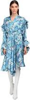 Balenciaga Floral Print Ruffled Satin Midi Dress
