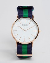 Reclaimed Vintage Canvas Stripe Watch In Navy/Green